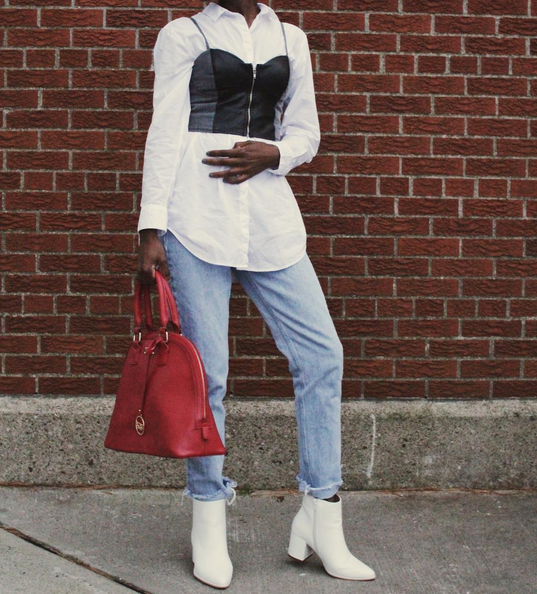 jeans with white booties