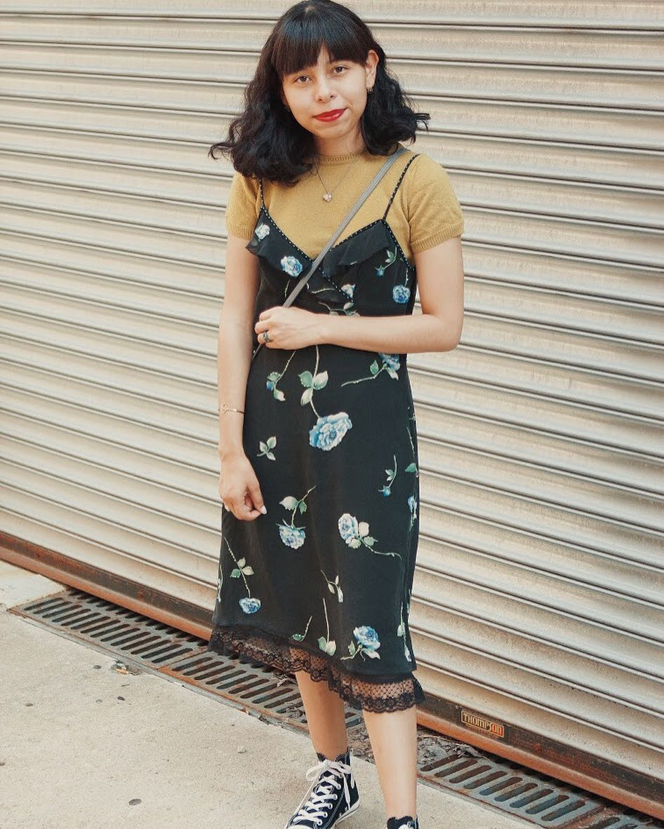 Black Slip Dress Outfit With Black Converse