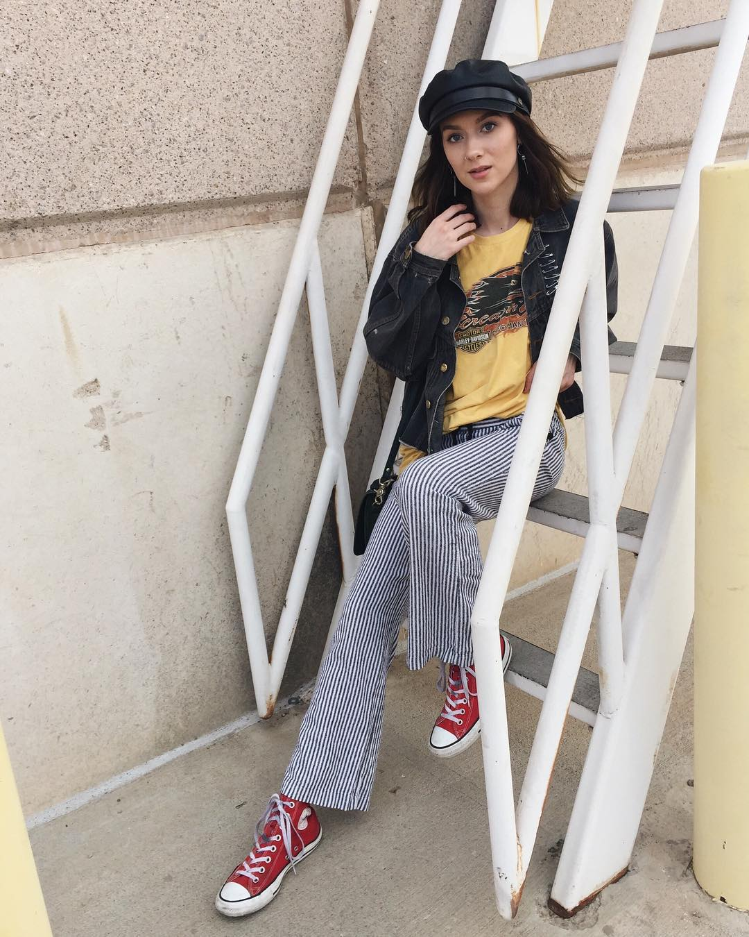 Striped Pants Outfit With Red Converse