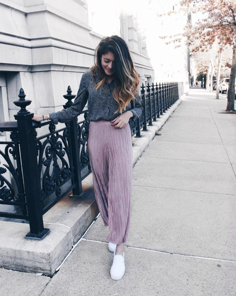 muted pink culottes