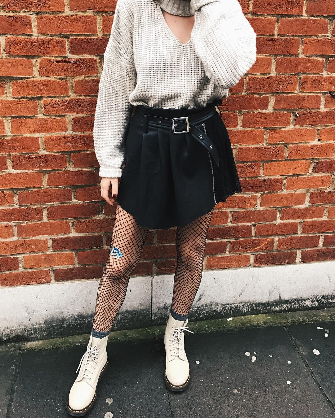 Sweater and Skirt Fishnet Outfit