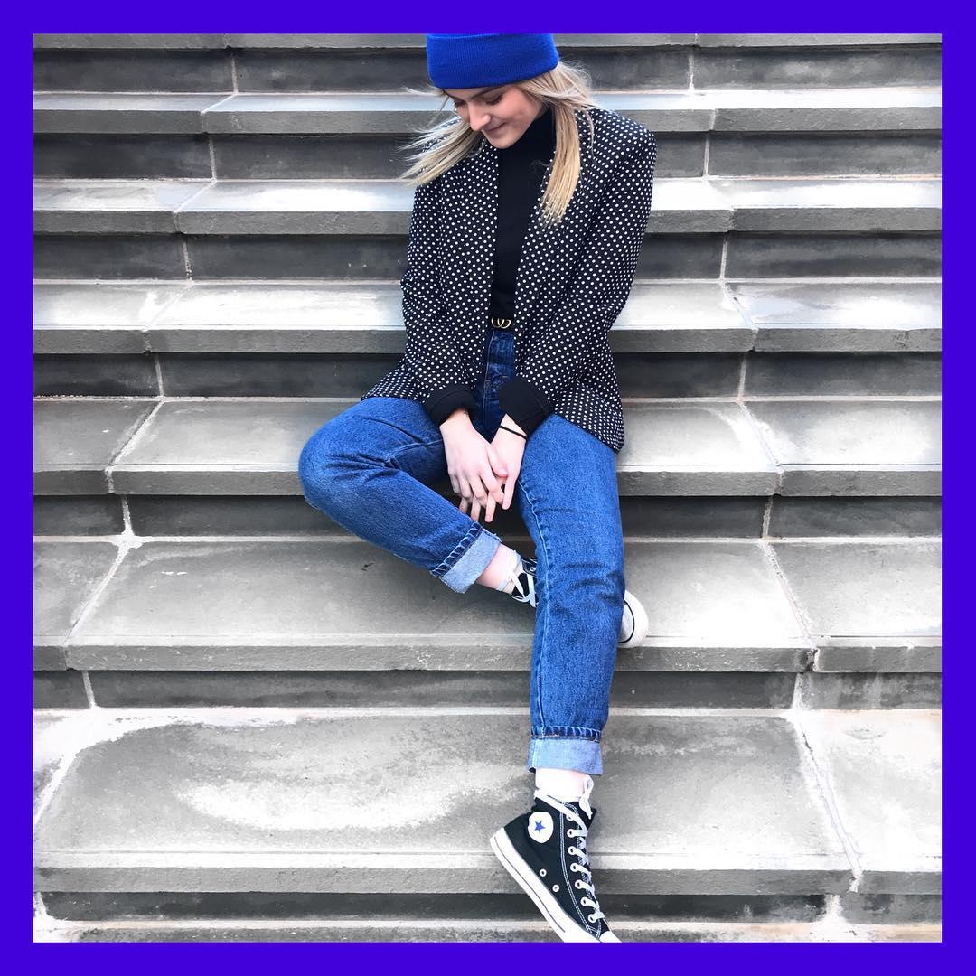 Polka dot blazer and bright blue beanie