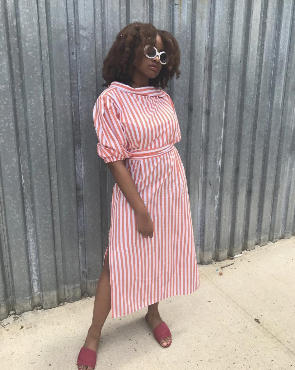Striped Midi Dress Graduation Outfit