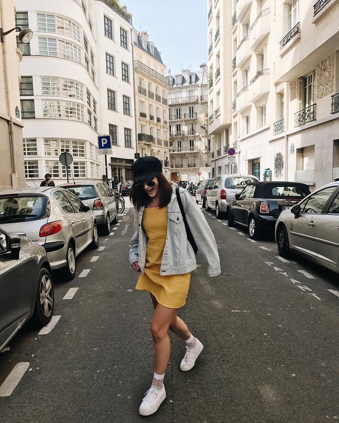 denim jacket and yellow dress look