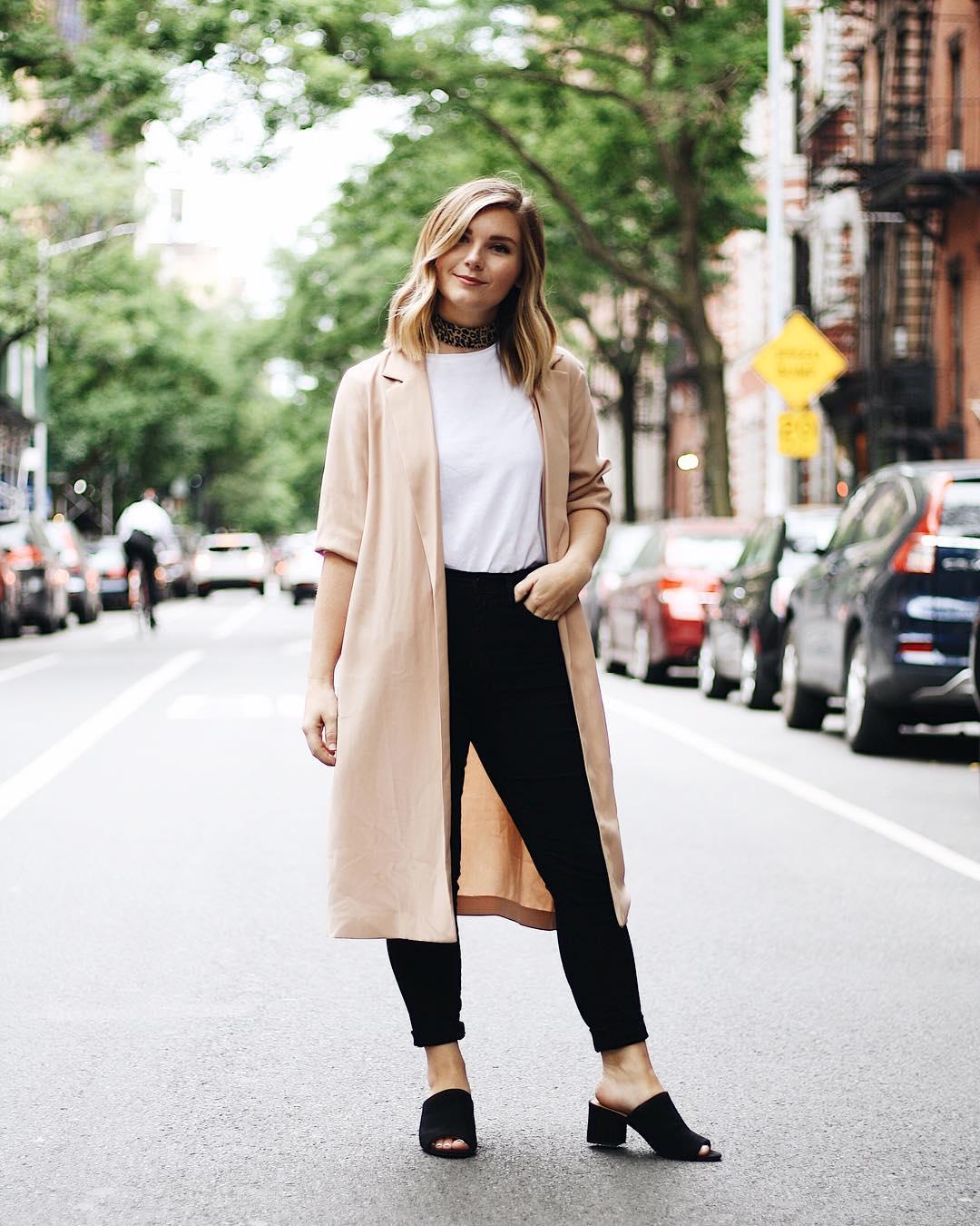 maxi jacket and basics look