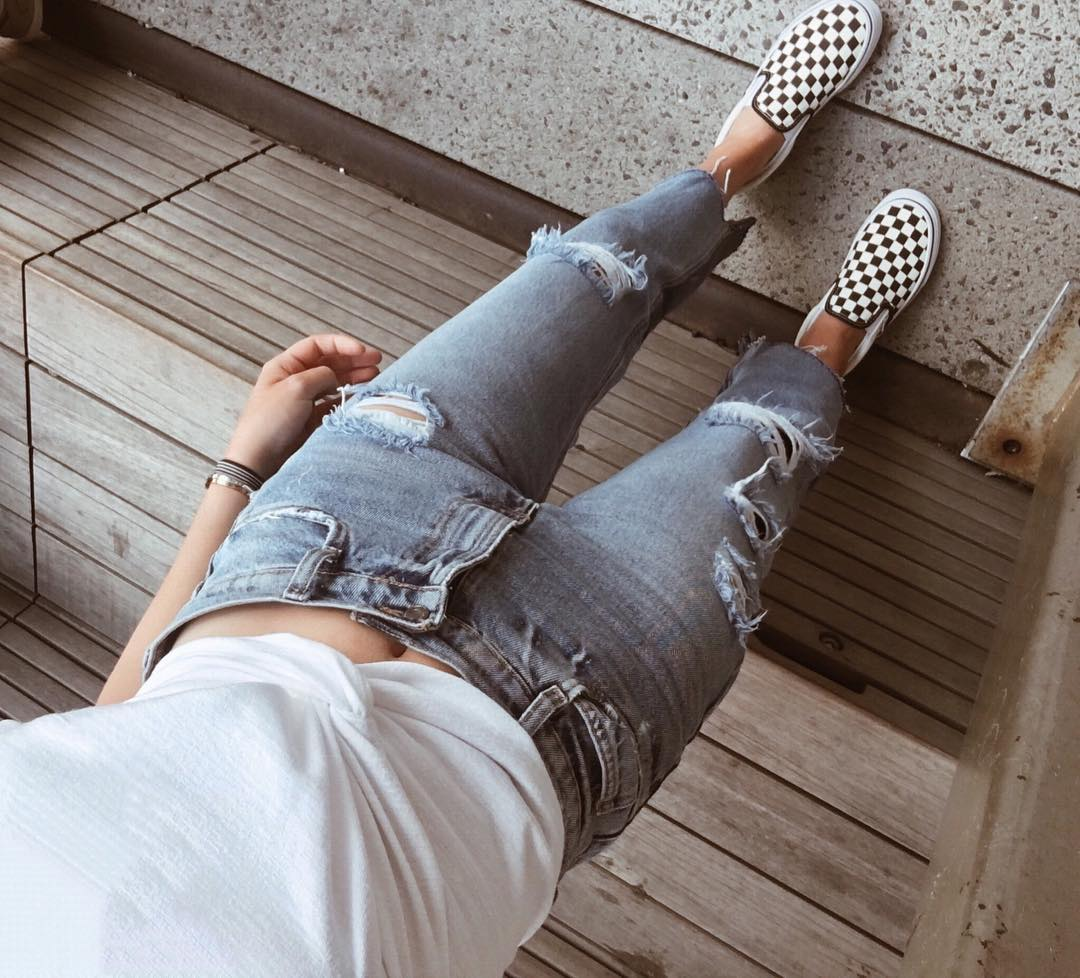 Checkered Vans and Basics Outfit