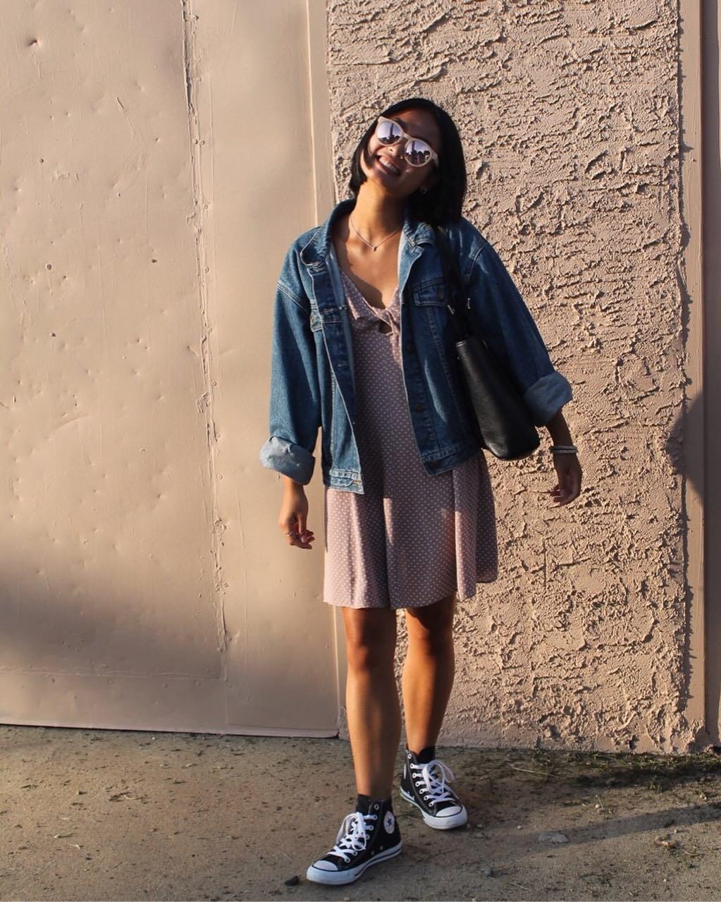 dress and denim jacket look