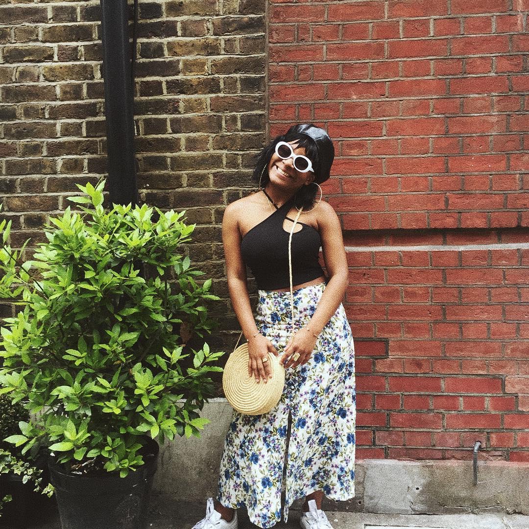 floral skirt look