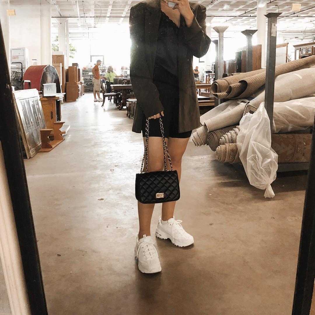 Bike Shorts With a Silk Camisole